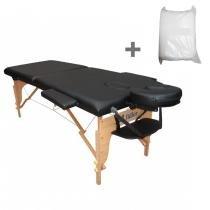 Maca Portatil Mesa de Massagem Fidler 2 Seções + 10 Lençois Descartaveis - Preta - Fidler