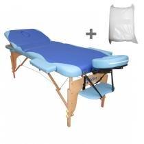 Maca Portatil Mesa de Massagem Fidler 3 Seções + 10 Lençois Descartaveis - Azul com Celeste - Fidler