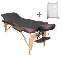 Maca Portatil Mesa de Massagem Fidler 3 Seções + 10 Lençois Descartaveis - Preta com Marrom - Fidler