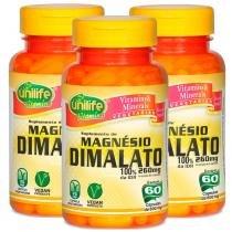 Magnésio Dimalato 60 cápsulas de 600mg Kit com 3 Frascos - Unilife
