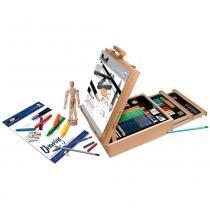Maleta cavalete para desenho royal  langnickel  com 02 gavetas e 124 peças rset-rea6250 -