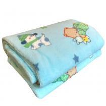 Manta Bebê 90 x 110cm Bichinhos Quentinhos Azul - Jolitex - Jolitex