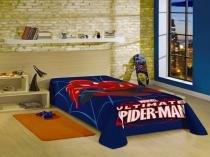 Manta Fleece solteiro estampada Spider Man Ultimate Lepper - Azul -