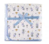 Manta malha bebê menino estampada Mini Colorê azul - Lepper