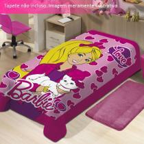 Manta Microfibra Barbie com Gatinho Mattel - Jolitex - CasaTema