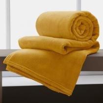 Manta Solteiro Amarela Microfibra Corttex Home Design 2,00 x 1,50 mts - Cortex