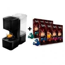 Máquina de café expresso Três corações Pop - 127V - Preta + 8 pacotes de cápsulas -