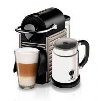 Máquina de Café Nespresso Pixie Steel com Aeroccino / Cinza / 110V - nespresso