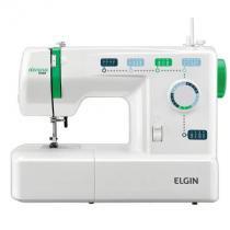 Máquina de costura elgin jx-2011 decora mais - branca / verde - 220v -