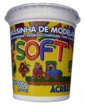 Massa Para Modelar Soft 500g Amarelo Limao 102 Acrilex - 1