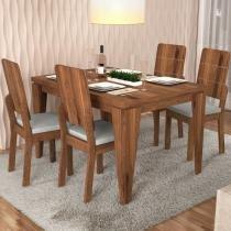 Mesa Charme com 4 Cadeiras Dama - Terrara/Claro - Dj móveis