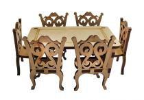 Mesa Clássica Retangular com 6 Cadeiras Miniatura - MDF a Laser - Palácio da Arte
