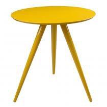 Mesa de Canto Redonda Tripé Amarela - 0,64m - Abra Casa