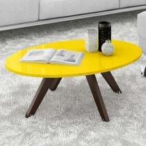 Mesa de Centro Alba - Amarelo Laca/Café - Dj Móveis