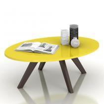 Mesa de Centro Alba Deseo 10992 Amarelo Laca/Café - Dj móveis