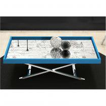 Mesa de Centro com Espelho Pés X Alumínio Azul - Nac Estofados