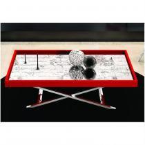 Mesa de Centro com Espelho Pés X Alumínio Vermelho - Nac Estofados