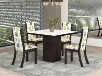 Mesa de Jantar 4 Cadeiras Quadrada Viero Móveis - Lost