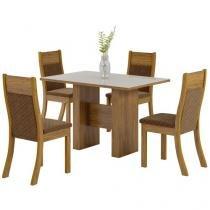 Mesa de Jantar 4 Cadeiras Retangular - Tampo de Vidro Viero City