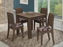 Mesa de Jantar 4 Lugares 90x90 - Cadeiras Barbara e Mesa Suly - Marrocos/Floral Bordô - Cimol - Cimol