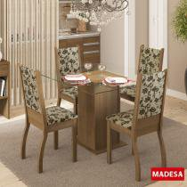 Mesa de Jantar 4 Lugares Soraya Rustic/Bege Marrom - Madesa