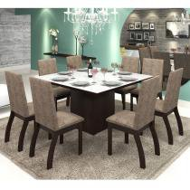 Mesa de Jantar 8 Lugares Cleo Ameixa/Malta/Branco - Mobilarte