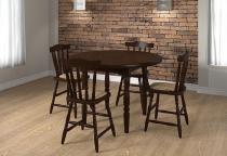 Mesa de Jantar com 4 Cadeiras em Madeira Maciça Castanho - Piratini - Piratini