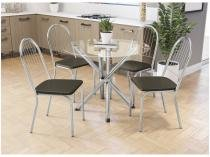 Mesa de Jantar com 4 Cadeiras Redonda - com Tampo de Vidro Kappesberg Crome CMC262CR-21