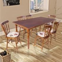 Mesa de Jantar com 6 Cadeiras em Madeira Torneada - Imbuia - Deiss