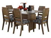 Mesa de Jantar com 6 Cadeiras Esmeralda Imbuia - RV Móveis - RV Móveis