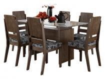 Mesa de Jantar com 6 Cadeiras Esmeralda Noce - RV Móveis - RV Móveis