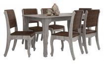 Mesa de Jantar com 6 Cadeiras Ônix Carvalho - RV Móveis - RV Móveis