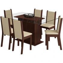 Mesa de Jantar com 6 Cadeiras Retangular - Tampo de Vidro Madesa Aline