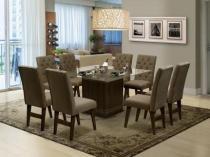 Mesa de Jantar com 8 Cadeiras Quadrado - com Tampo de Vidro Dobuê Movelaria Saint Louis