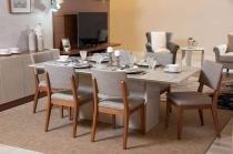 Mesa de Jantar Dag 180 com 6 Cadeiras Ella Off White com Mármore Carrara - Móveis Província - Móveis Província