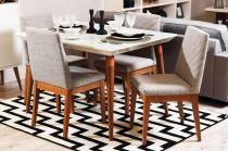 Mesa de Jantar Liv 120 com 4 Cadeiras Liv Off White com Mármore Carrara - Móveis Província - Móveis Província