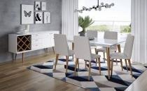 Mesa de Jantar Liv 160 com 6 Cadeiras Liv Alpha 80 Branco Gloss com Natural - Móveis Província - Móveis Província