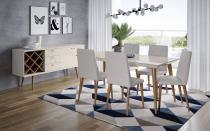 Mesa de Jantar Liv 160 com 6 Cadeiras Liv Alpha 80 Off White com Natural - Móveis Província - Móveis Província