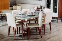 Mesa de Jantar Liv 160 com 6 Cadeiras Liv Branco Gloss com Mármore Carrara - Móveis Província - Móveis Província