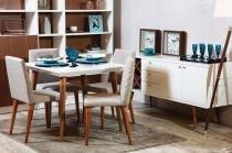 Mesa de Jantar Liv 90 com 4 Cadeiras Liv Off White com Mármore Carrara - Móveis Província - Móveis Província