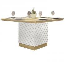 Mesa de Jantar Madeira Vince - Branco Laca/Teka TX - Dj móveis