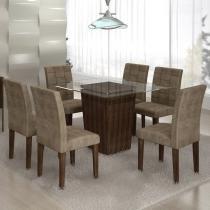 Mesa de Jantar Ômega  c/06 Cadeiras Ônix Suede Animale Bege/Malbec - Cel Móveis - Cel movéis