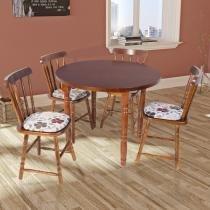 Mesa de Jantar Redonda com 4 Cadeiras em Madeira Torneada - Imbuia - Deiss
