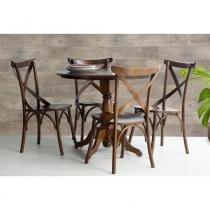 Mesa de Jantar Redonda Torneada Sid com 4 Cadeiras Paris em Madeira Maciça/ MDF - Verniz Pinhão - Ativa