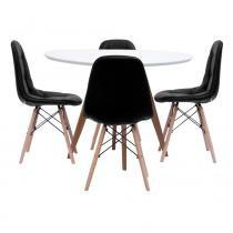Mesa de Jantar Square Redonda Branco Fosco 90cm + 4 Cadeiras Eiffel Botonê Preta - 90cm - Abra Mais