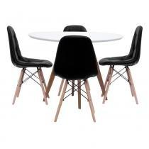 Mesa de Jantar Square Redonda Branco Fosco 90cm + 4 Cadeiras Eiffel Botonê Preta - Abra Mais