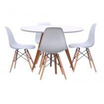 Mesa de Jantar Square Redonda Branco Fosco 90cm + 4 Cadeiras Eiffel em PP Branca com Base Madeira - 90cm - Abra Mais