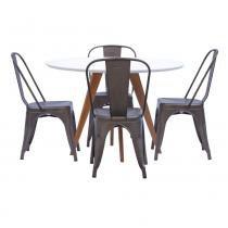 Mesa de Jantar Square Redonda Branco Fosco 90cm + 4 Cadeiras Tolix Ferrugem Vintage - 90cm - Abra Mais