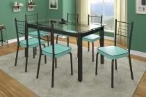 Mesa de Jantar Tokio Premium + 6 Cadeiras Juliana Verde Claro em Aço Pintado - Art Panta - ArtPanta