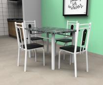 Mesa de Jantar Vitoria Granito + 4 Cadeiras Madri em Aço Pintado Branco - Art Panta - Artpanta